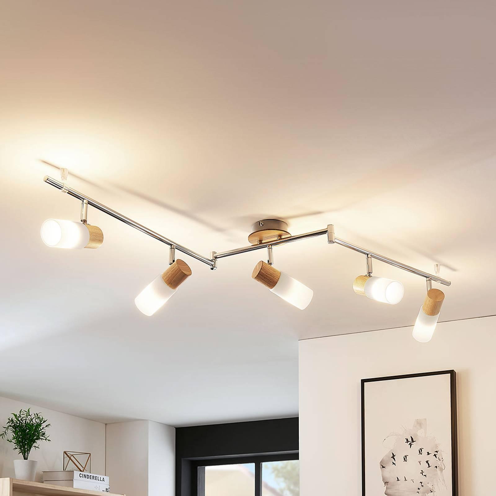 Kaunis LED-puukattokohdevalo Christoph, 5 lamppua