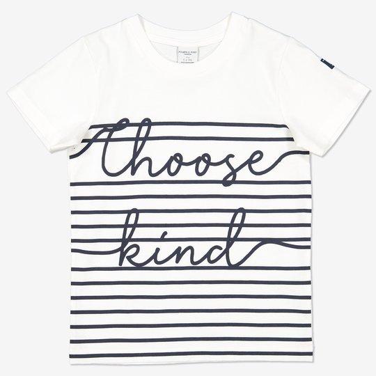 Stripet T-skjorte med teksttrykk hvit