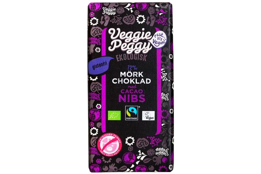 Veggie Peggy Mörk Choklad - Cacaoc Nibs 85g