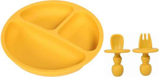 Tallerken og Bestikk silikon, Mustard