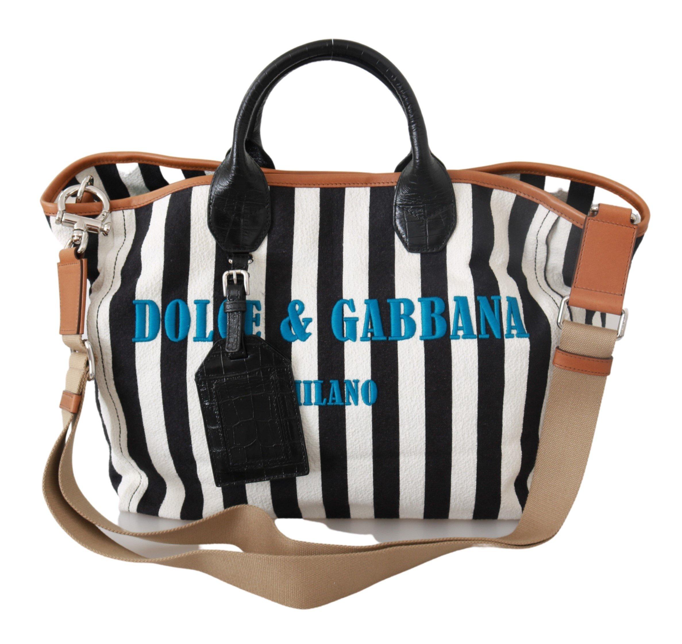Black White Stripes Shopping Borse Women Tote Cotton Bag