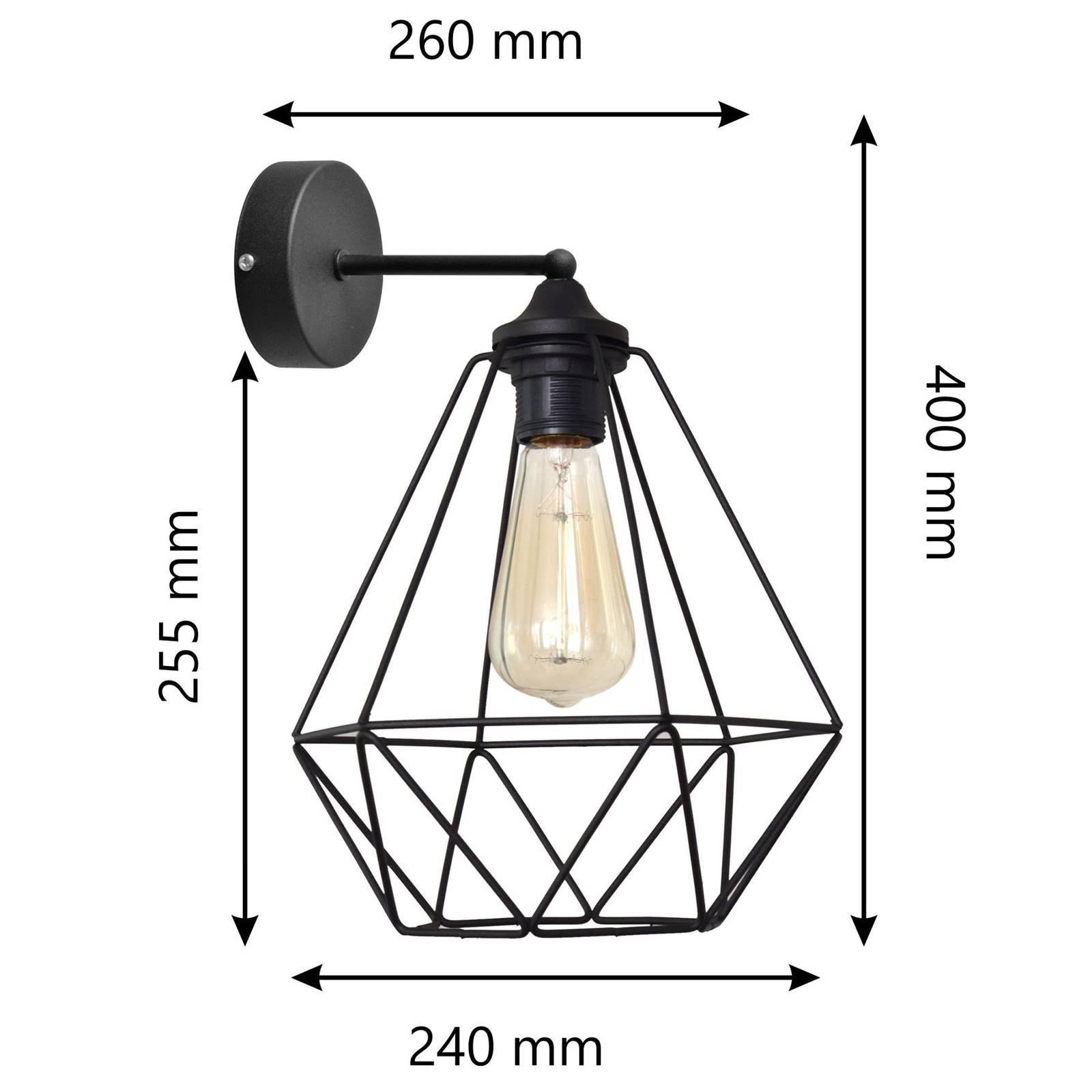 Vegglampe Karo i burdesign, svart