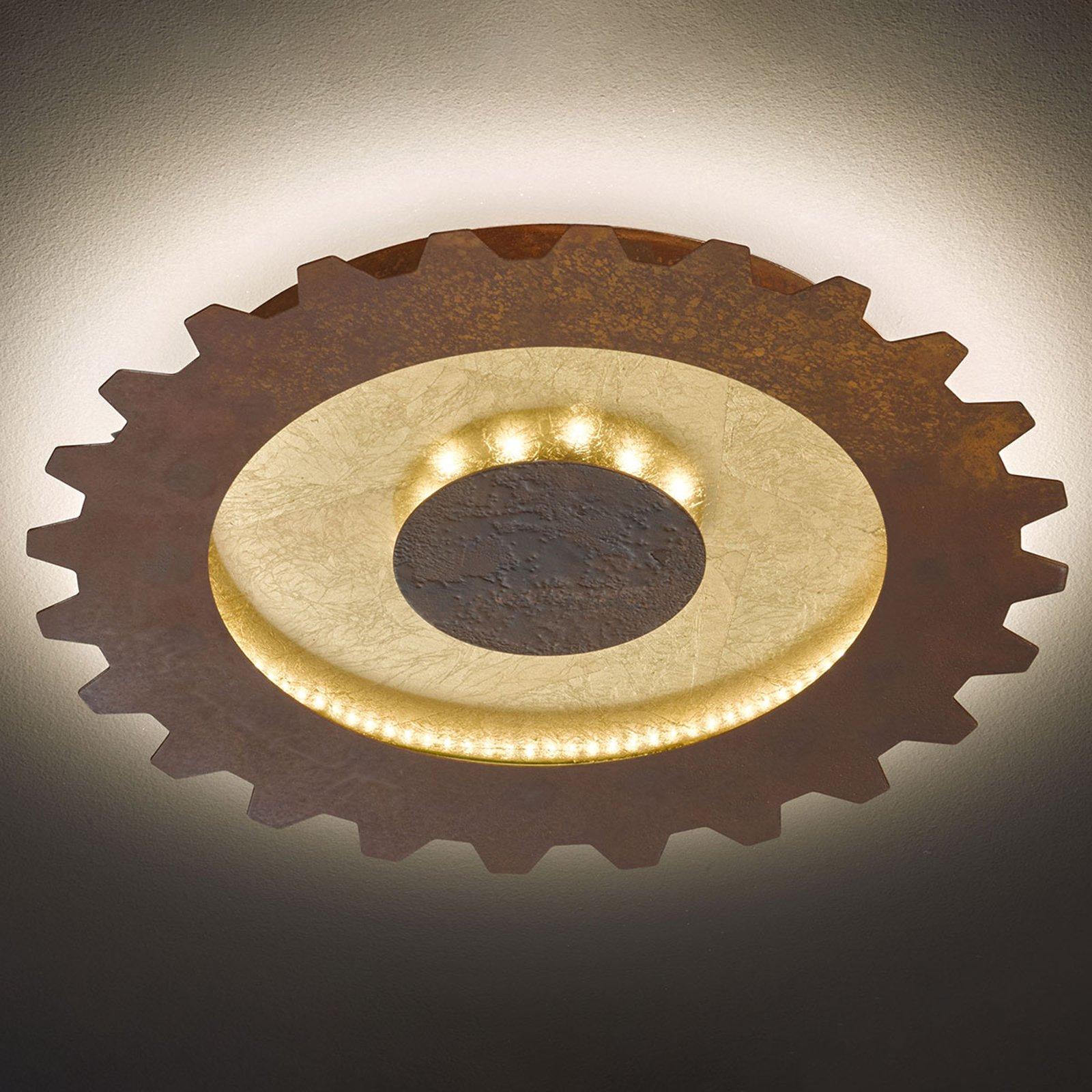 LED-taklampe Leif i tannhjulstil, Ø 50 cm