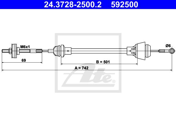 Kytkinvaijeri ATE 24.3728-2500.2