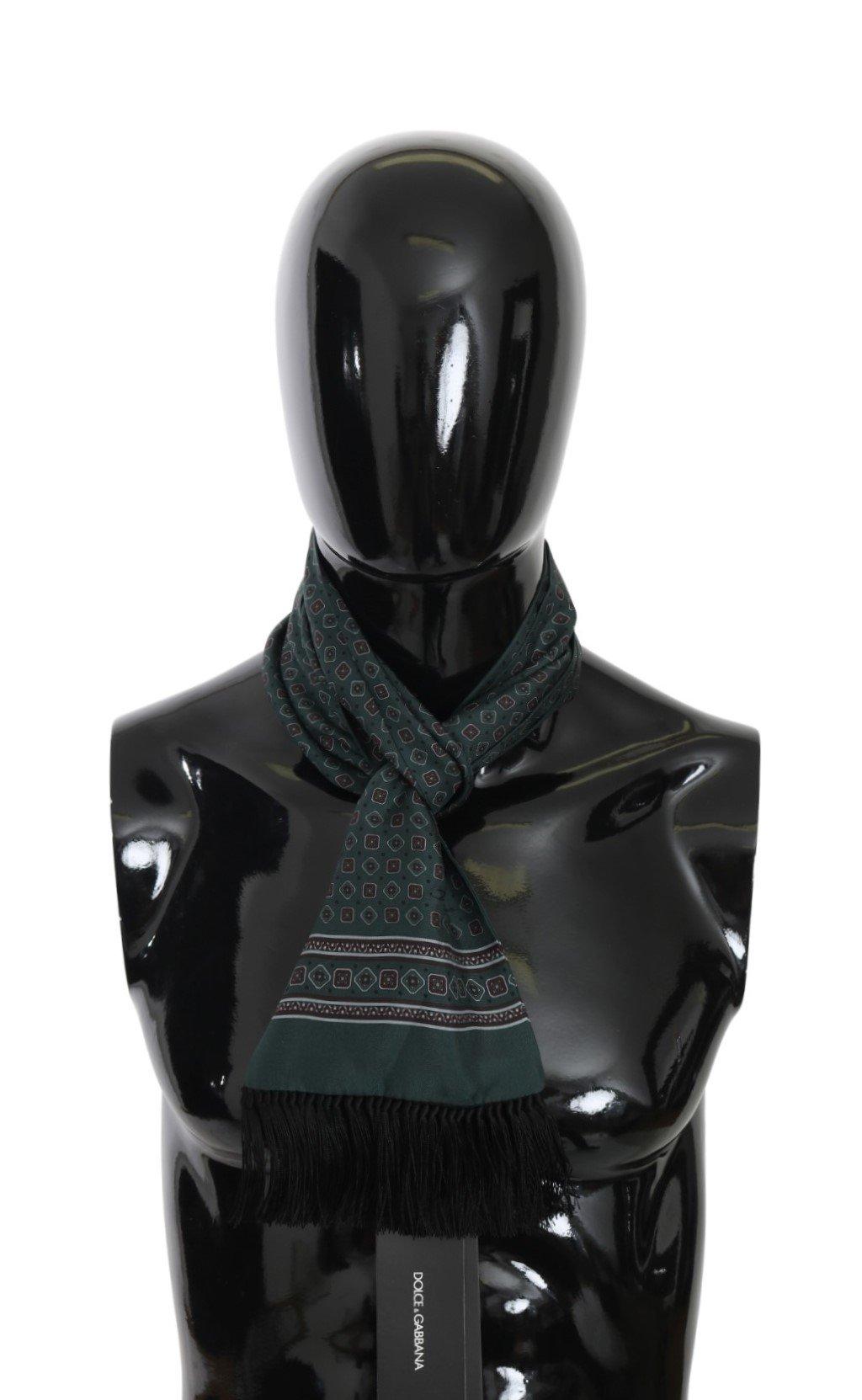 Dolce & Gabbana Men's Baroque Fringe Wrap Silk Scarf Green MS5528