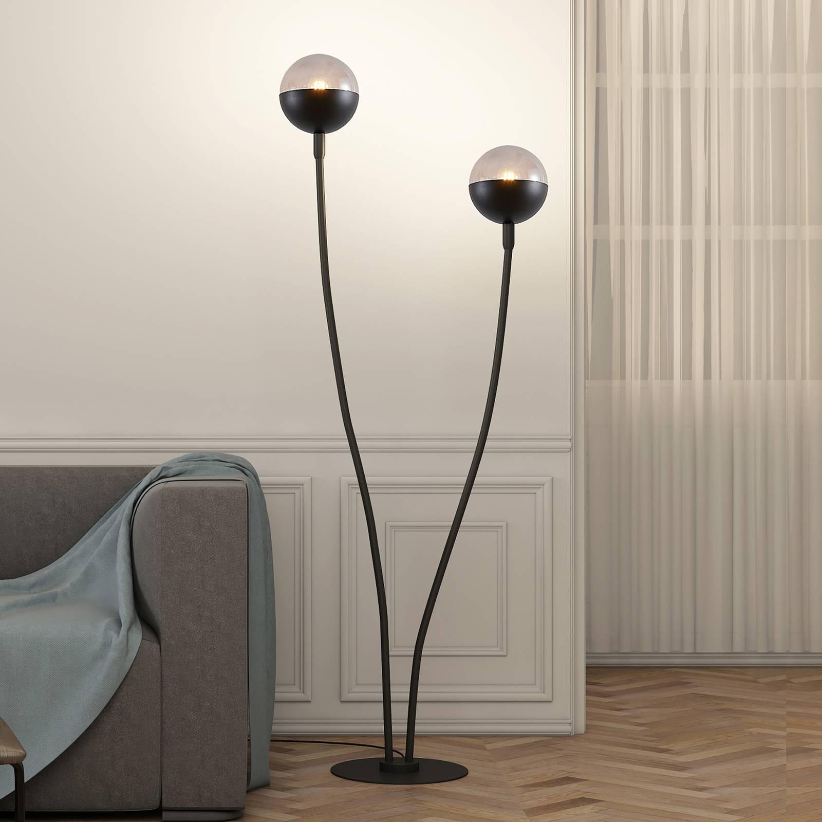 Lucande Dustian -lattiavalaisin, 2-lamppuinen