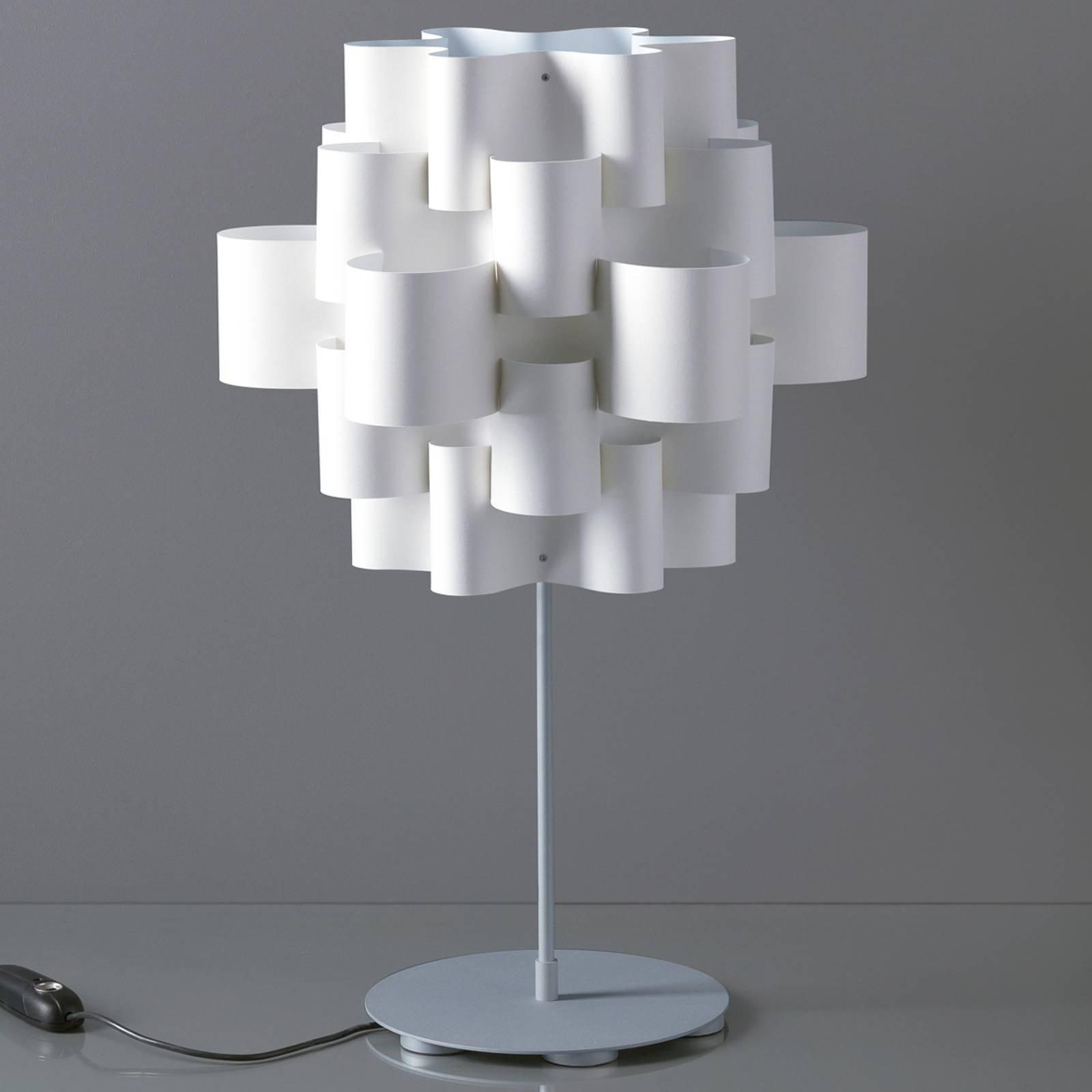Design-pöytävalaisin Sun, valkoinen
