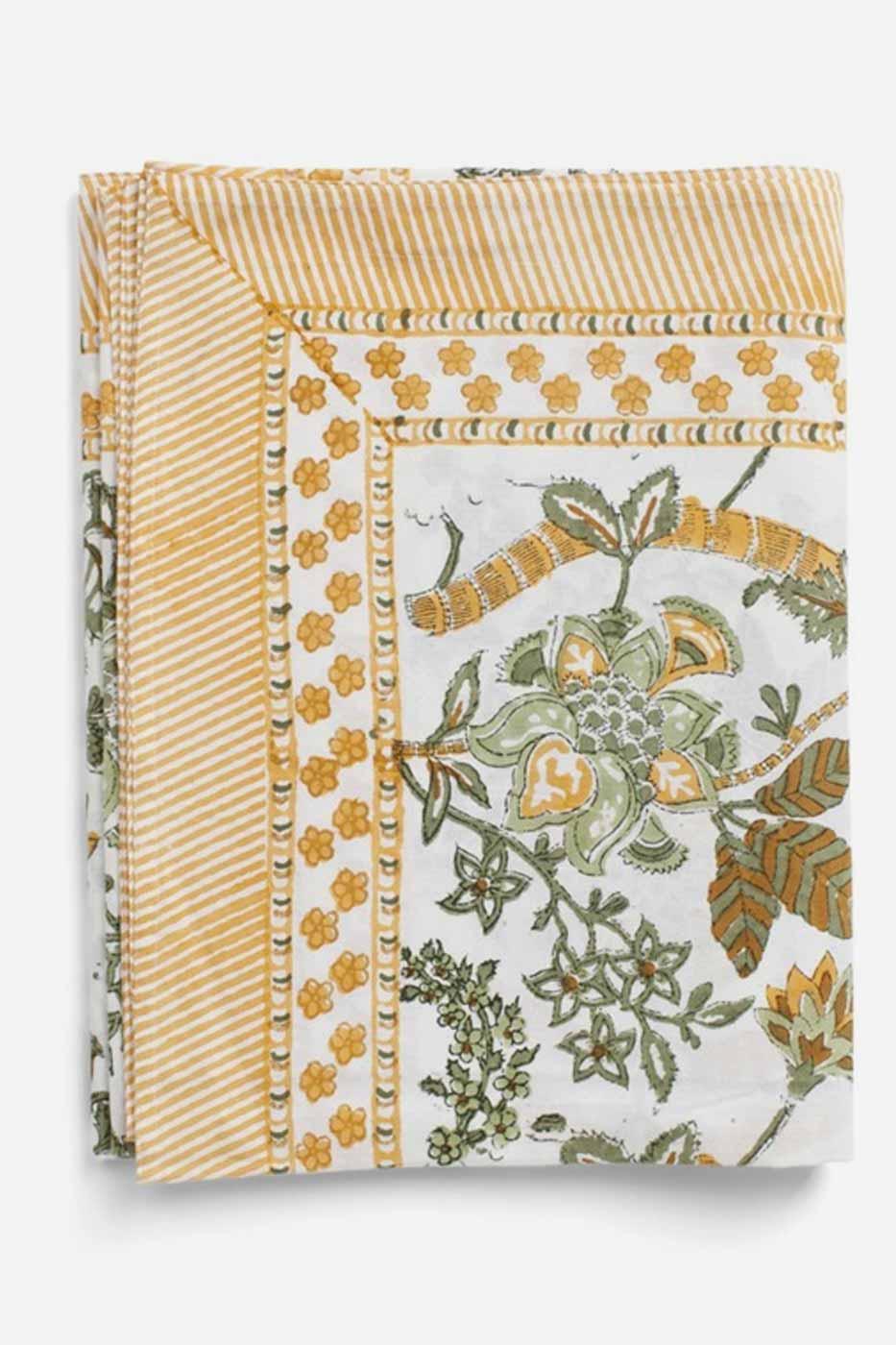 Duk Floral bomull ochre 150x230