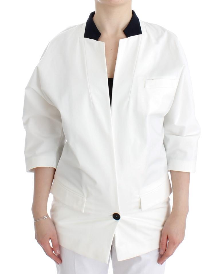 Andrea Pompilio Women's Cotton Blend Oversized Blazer White SIG12655 - IT44|L