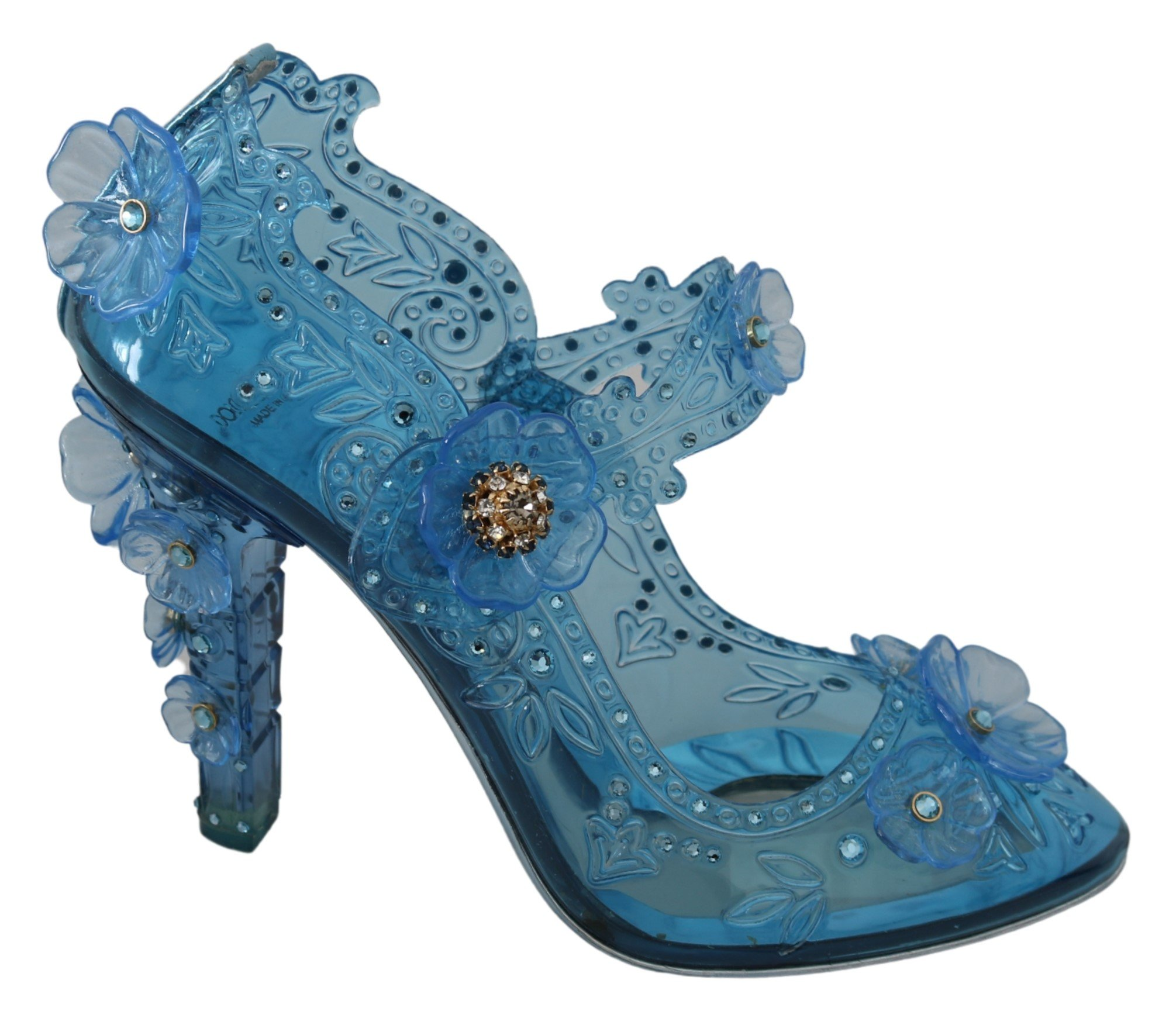 Dolce & Gabbana Women's Floral Crystal CINDERELLA Pumps Blue LA7283 - EU39/US8.5