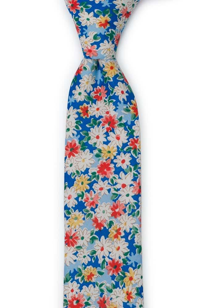 Bomull Smale Slips, Røde, lakserosa, gule & hvit tusenfryd på blått