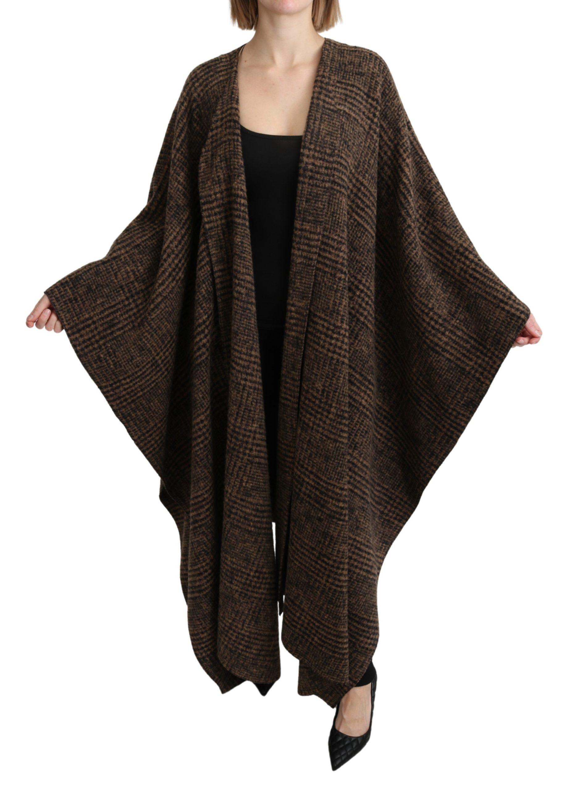 Dolce & Gabbana Women's Cape Coat Wool Blend Jacket Brown JKT2636 - IT40|S