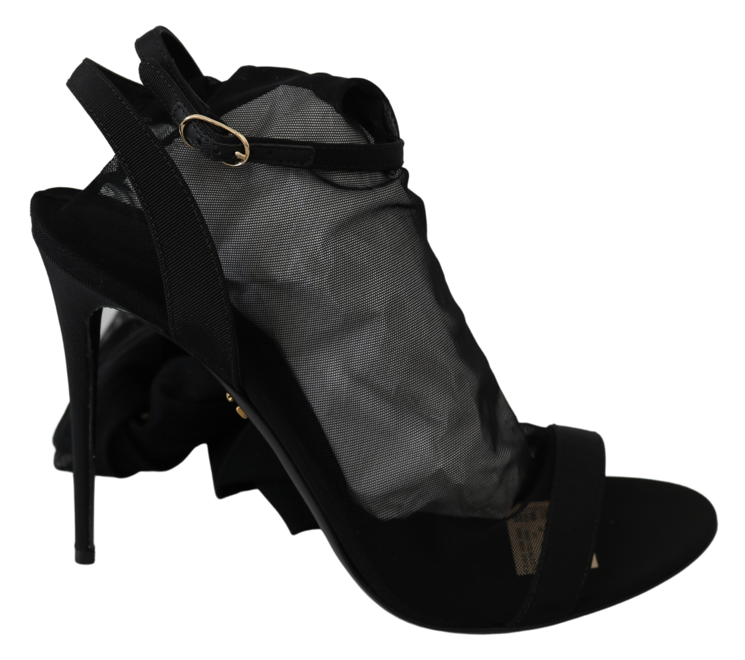 Black Tulle Stretch High Heels Strap Shoes - EU39/US8.5