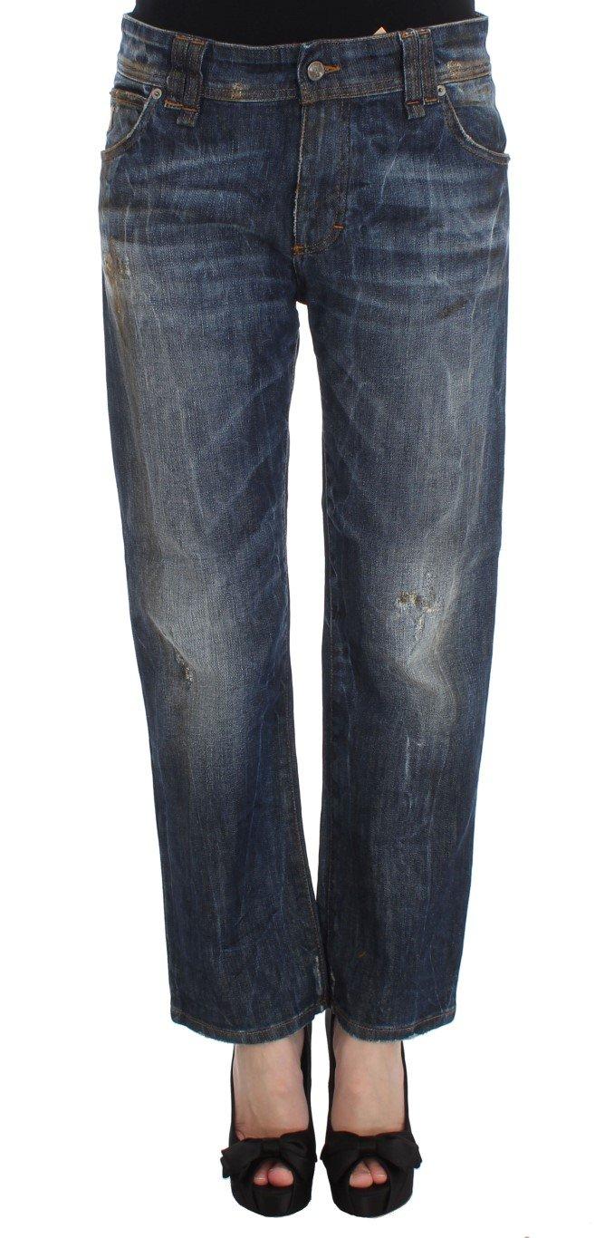 Dolce & Gabbana Women's Wash Cotton Boyfriend Fit Cropped Jeans Blue SIG30167 - W26