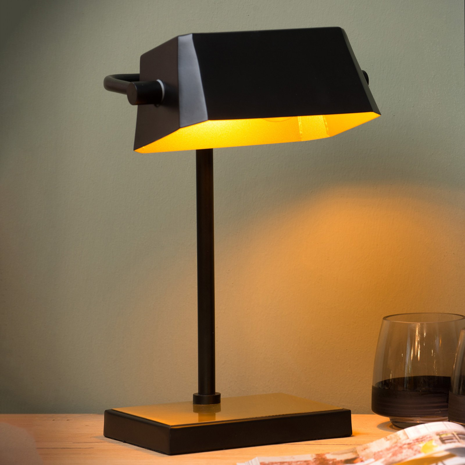 Lance bordlampe svart, matt gull