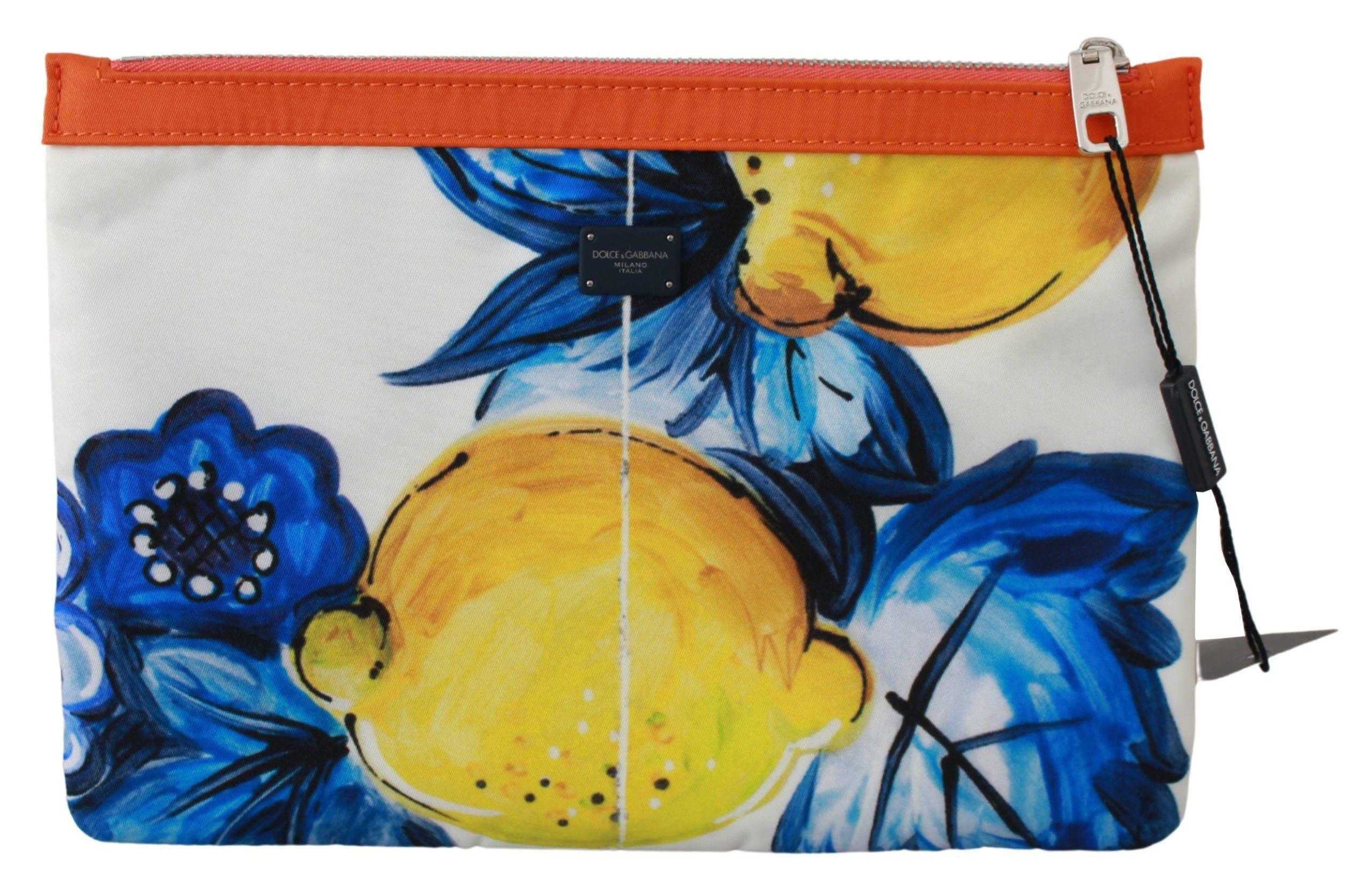 Dolce & Gabbana Men's Lemon Print Hand Pouch Messenger Bag Multicolor VAS9497
