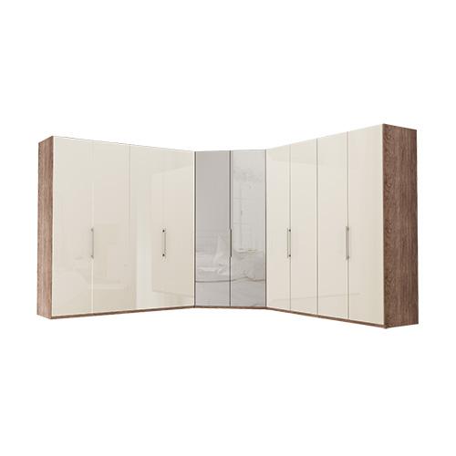 Garderobe Atlanta - Mørk rustikk eik 200 + walk-in + 200, 216 cm