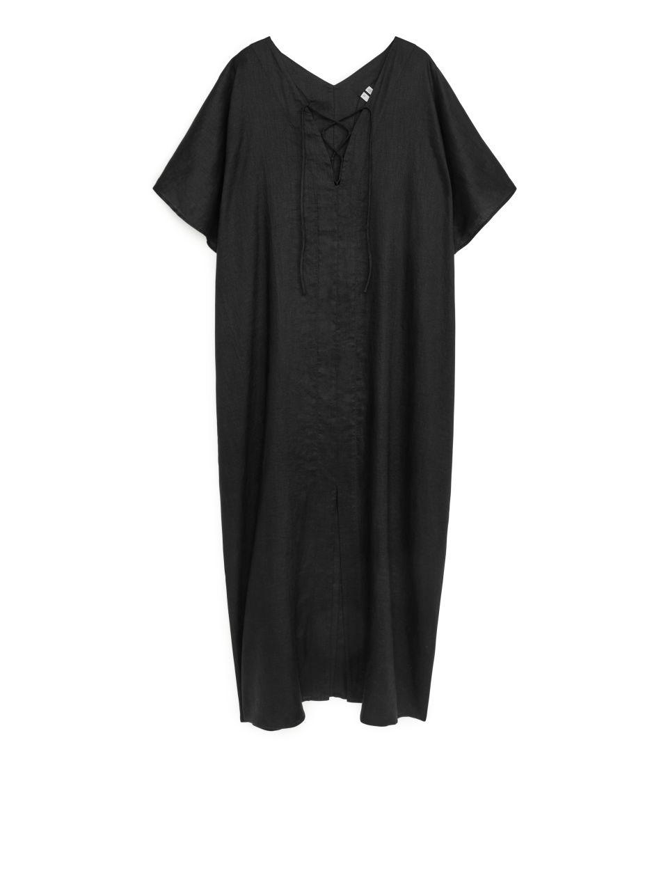 Linen Tunic Dress - Black