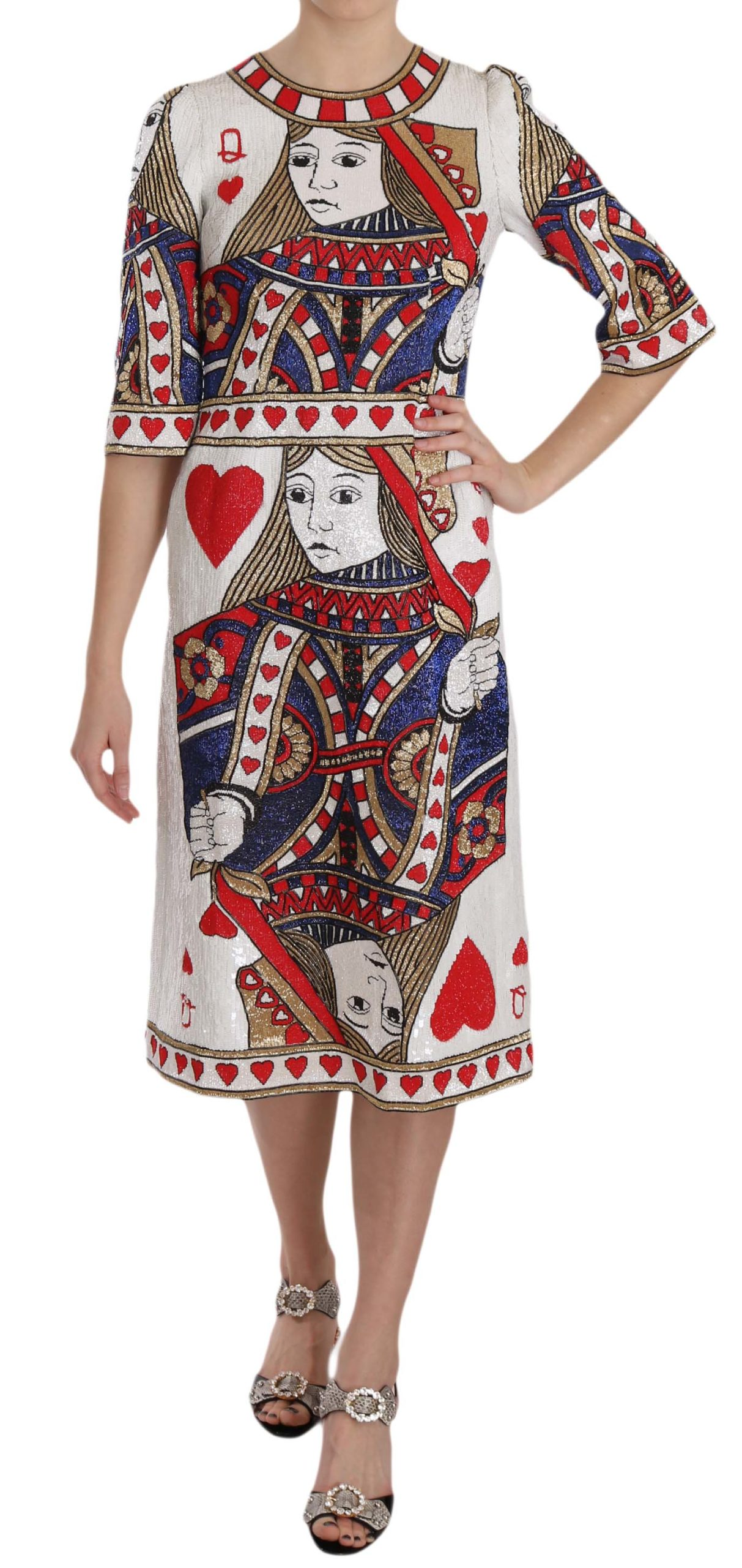 Dolce & Gabbana Women's Queen Of Hearts Card Sequined Dress Multicolor DR1652 - IT40|S