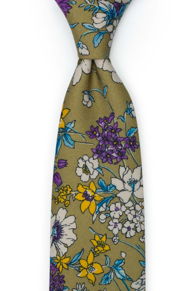 Bomull Slips, Lilla, hvite, blå & gule blomster på oliven, Grønn, Blomster