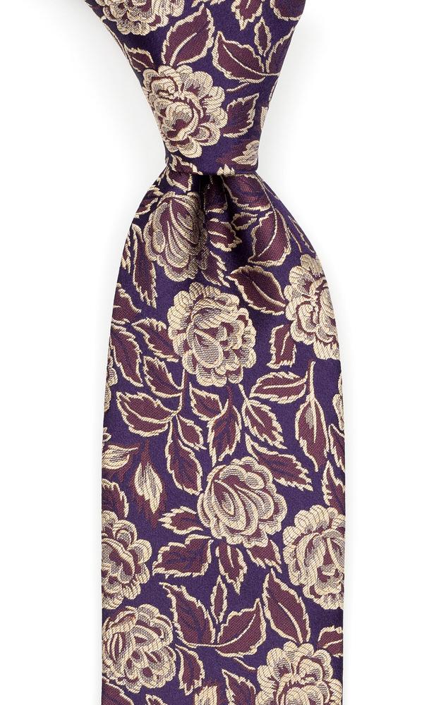 Silke Slips, Blomster i gull & kanel på mørk aubergine, Gull, Blomstrete