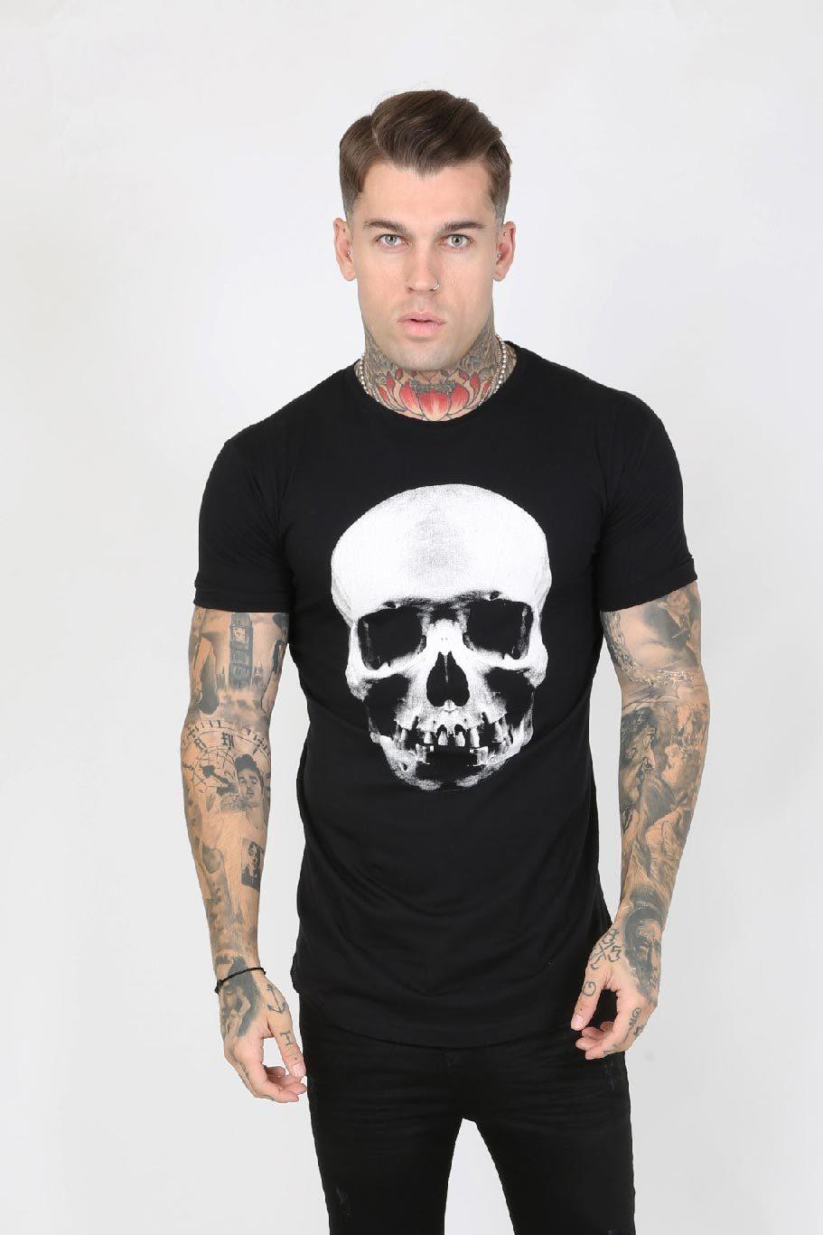Hellz Crystal Back Logo Skull Print Men's T-Shirt - Black, Small