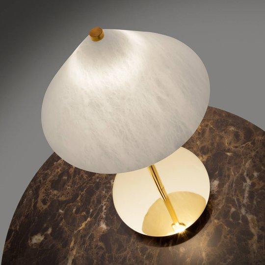 LED-bordlampe Fuji, alabaster-skjerm