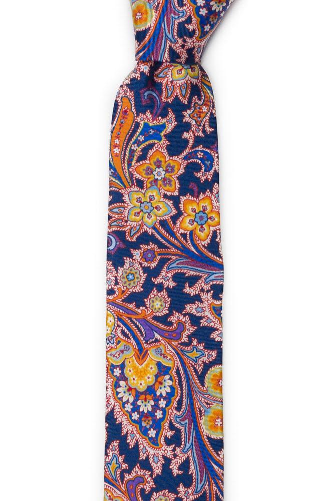 Silke Smale Slips, Surrealistiske, flerfargete blomster på oransje