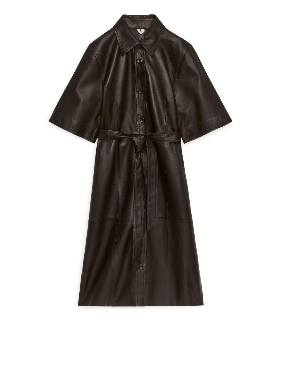 Leather Shirt Dress - Black