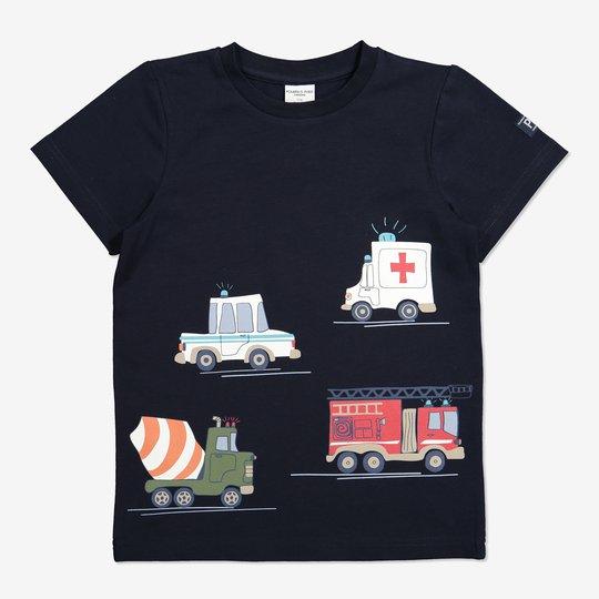 T-skjorte med kjøretøytrykk mørkblå