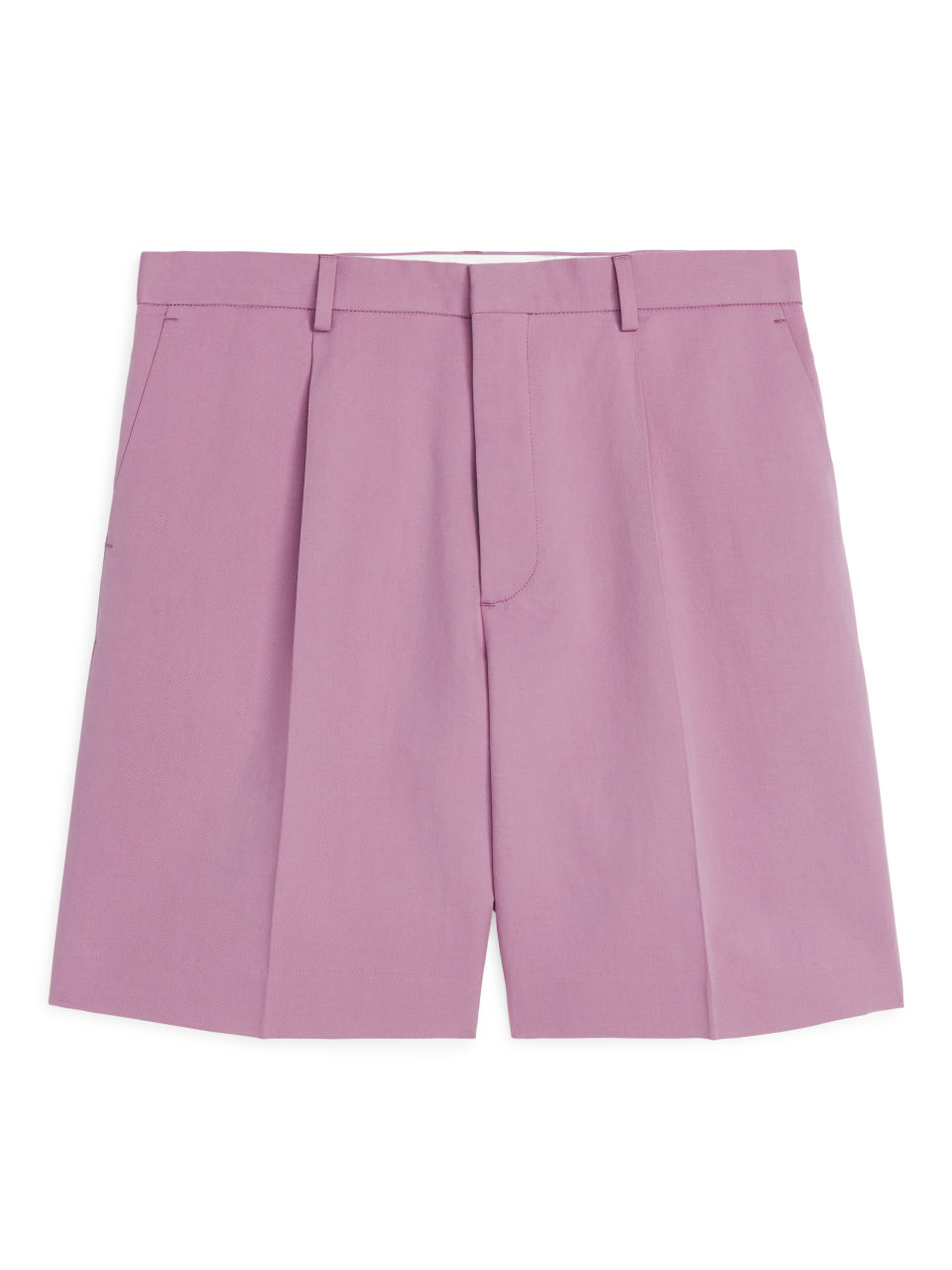 Pleated Linen Shorts - Pink