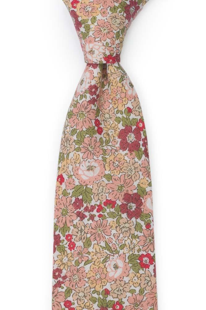 Bomull Slips, Hvit base med rosa, beige, rosa & grønne blomster, Rosa, Blomster