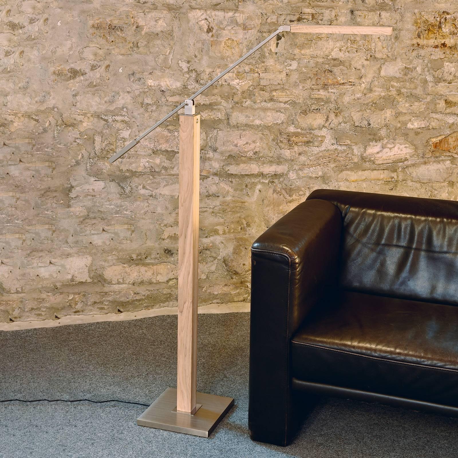 HerzBlut Otto O -LED-lattia/lukuvalaisin, tammi