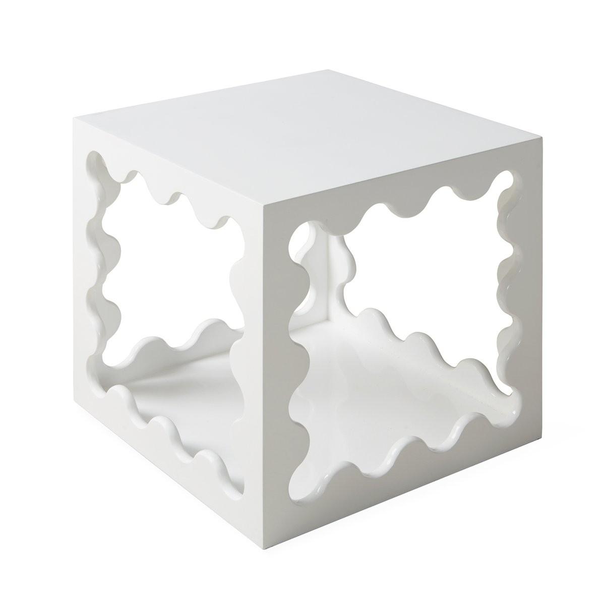 Jonathan Adler I Ripple Lacquer Cube I White