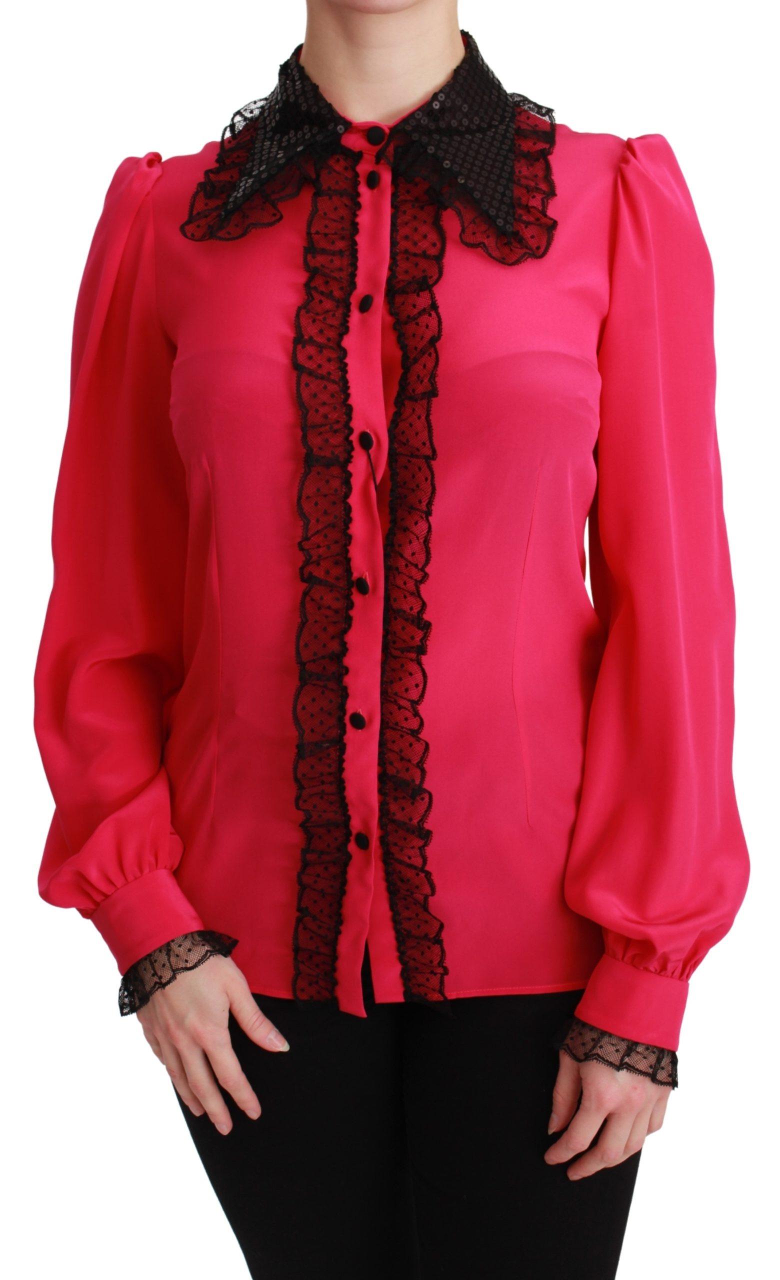 Dolce & Gabbana Women's Silk Sequin Lace Shirt Pink TSH2673 - IT38 XS