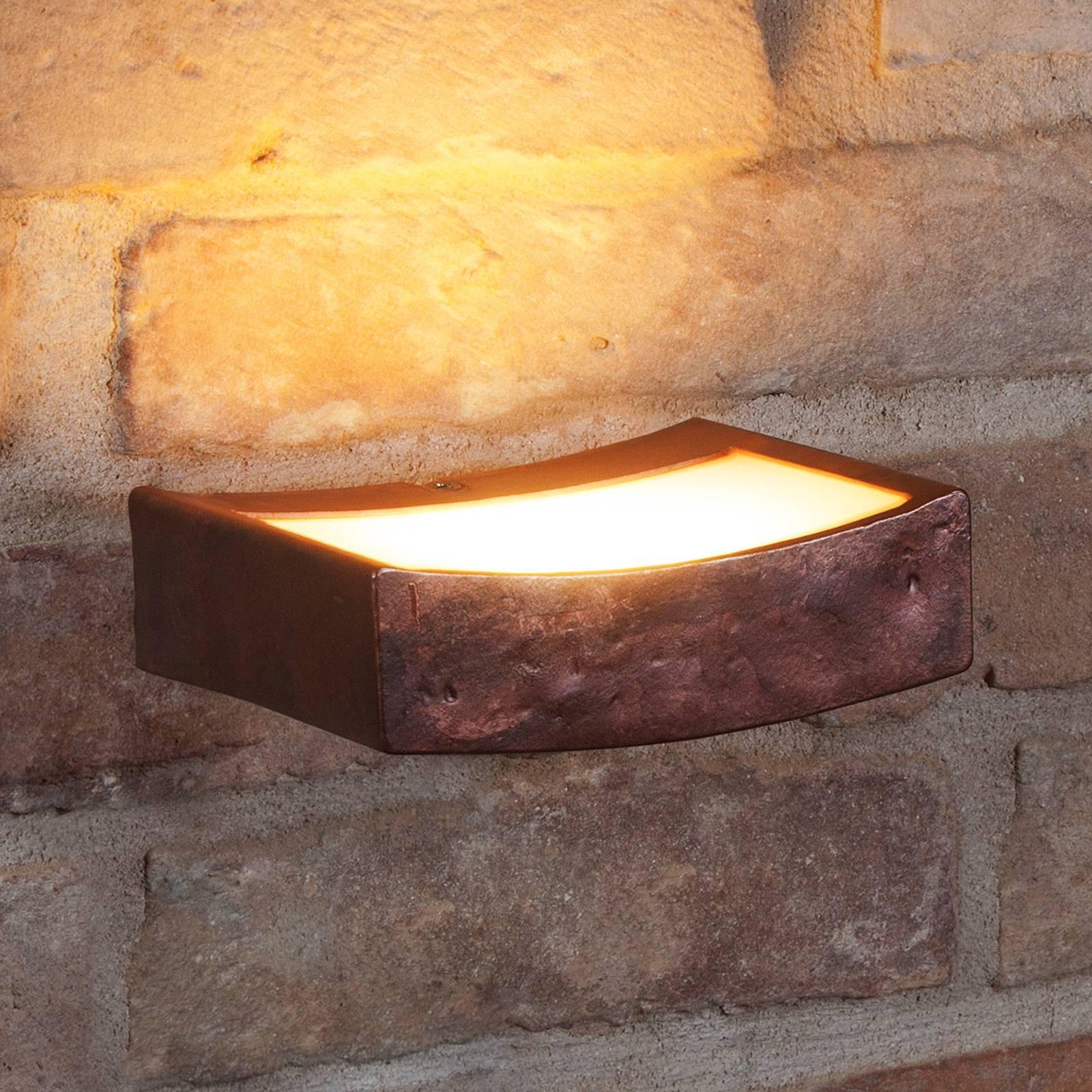 LED-seinälamppu Dolce, ruoste, leveys 13 cm