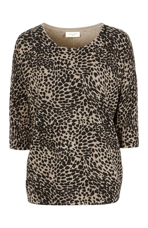 Freequent Leopardmönstrad tröja Jone Beige Mönstrad