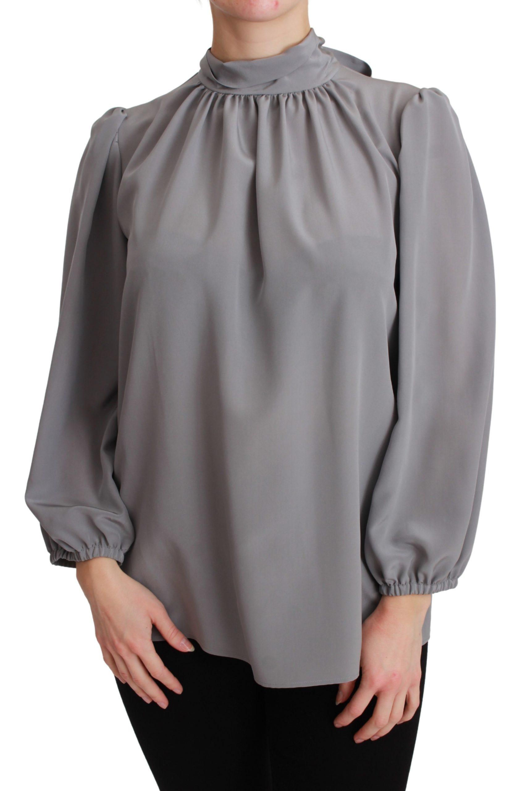 Dolce & Gabbana Women's Silk Neck Bow Shirt Gray TSH2675 - IT38|XS
