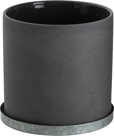 Krukke med sinkfat 12 cm – Grå