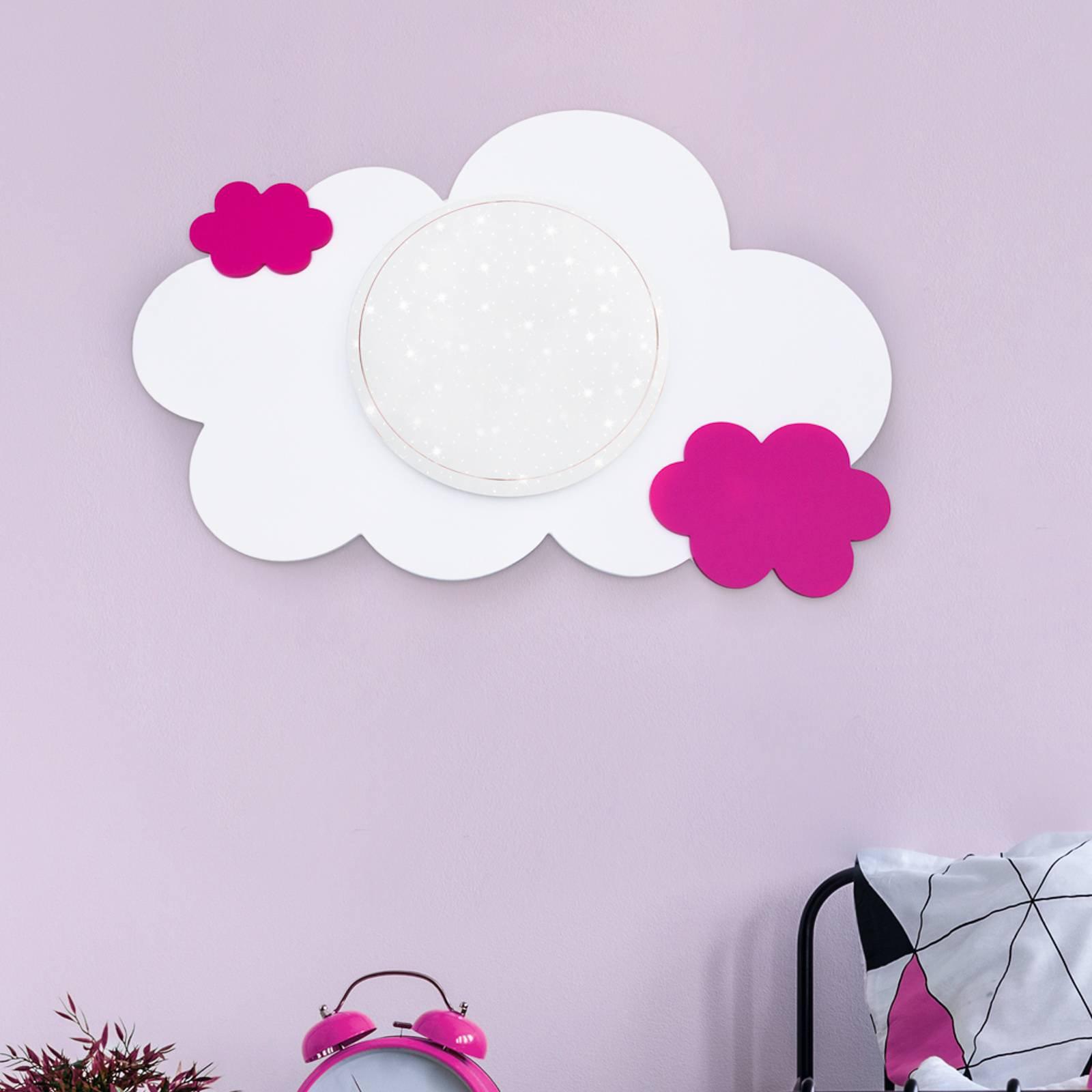 LED-vegglampe sky Starlight, rosa