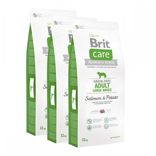 Brit Care Dog Adult Grain Free Large Breed Salmon & Potato 3x12 kg