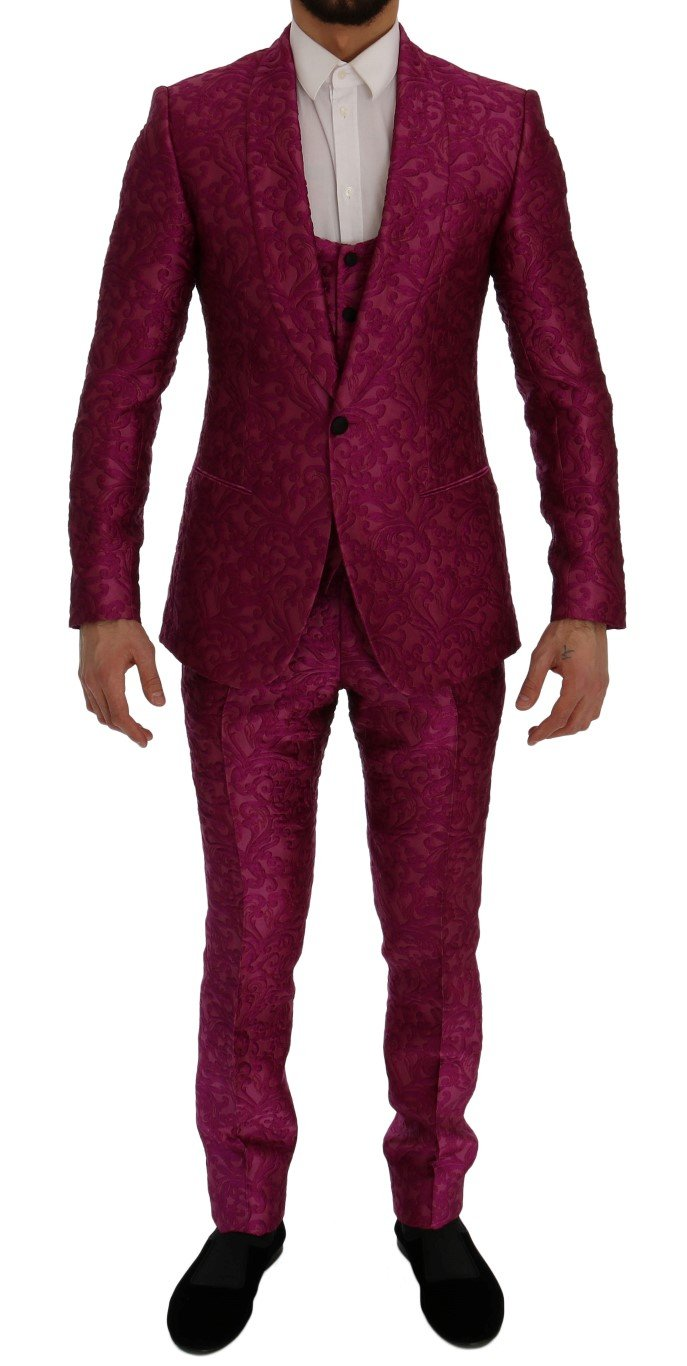 Dolce & Gabbana Men's Jacquard 3 Piece Slim fit Suit Pink SIG60278 - IT50 | L