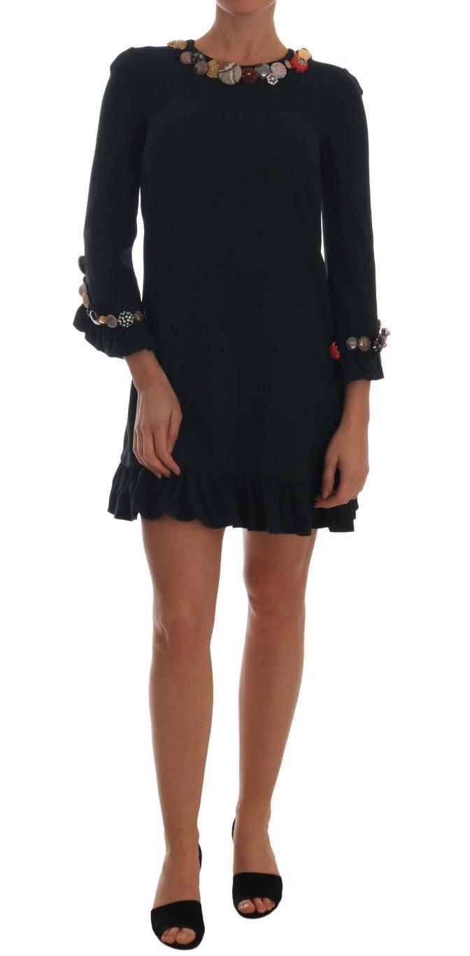Dolce & Gabbana Women's Crystal Stretch A-Line Dress Green TSH1919 - IT42
