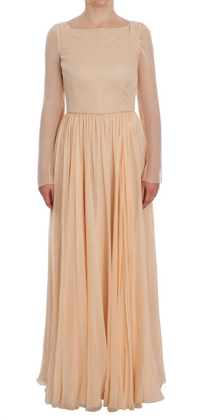 Dolce & Gabbana Women's Silk Ball Gown Dress Beige NOC10161 - IT40|S