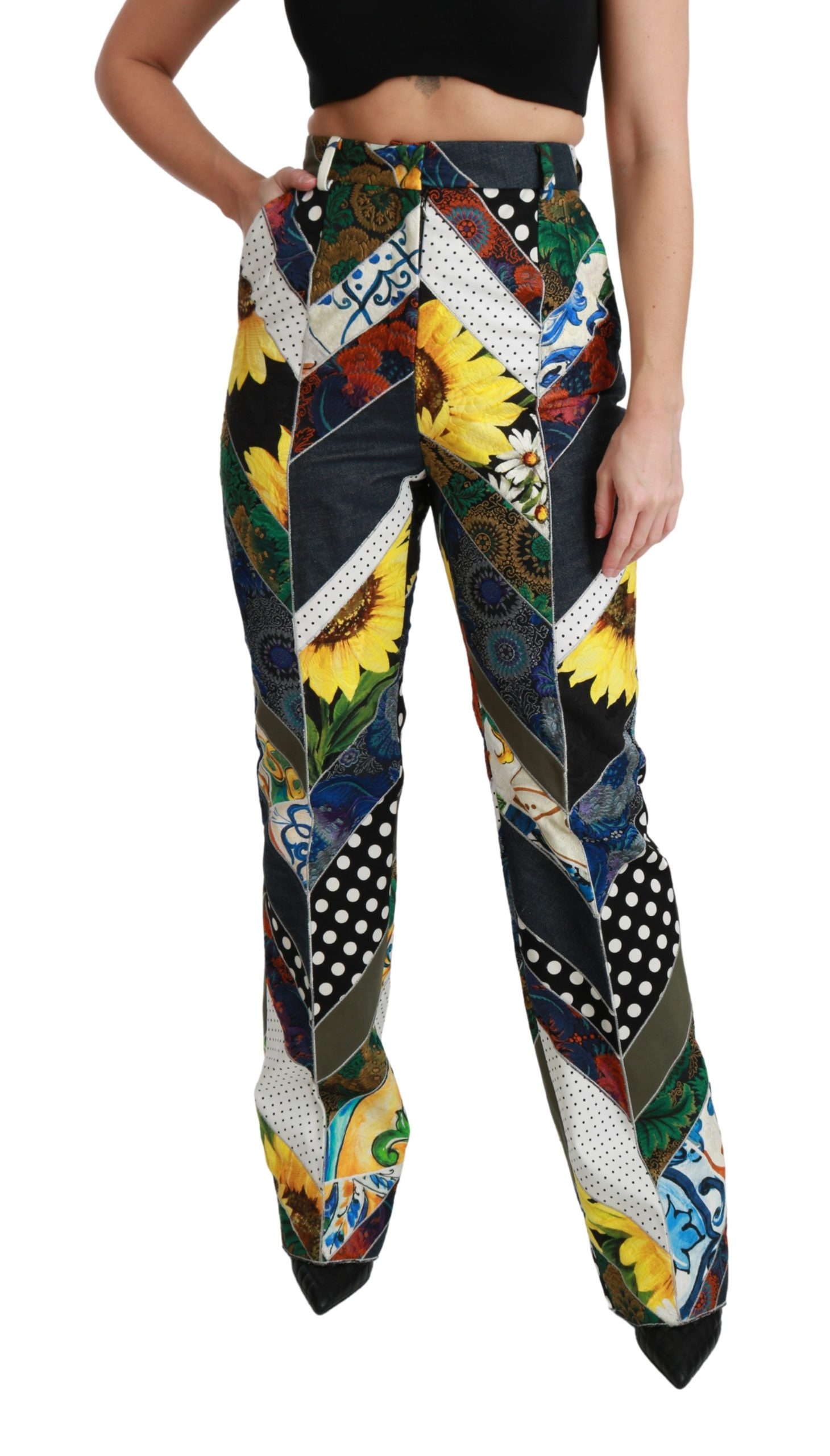 Dolce & Gabbana Women's Print High Waist Straight Trouser Multicolor PAN70936 - IT40|S