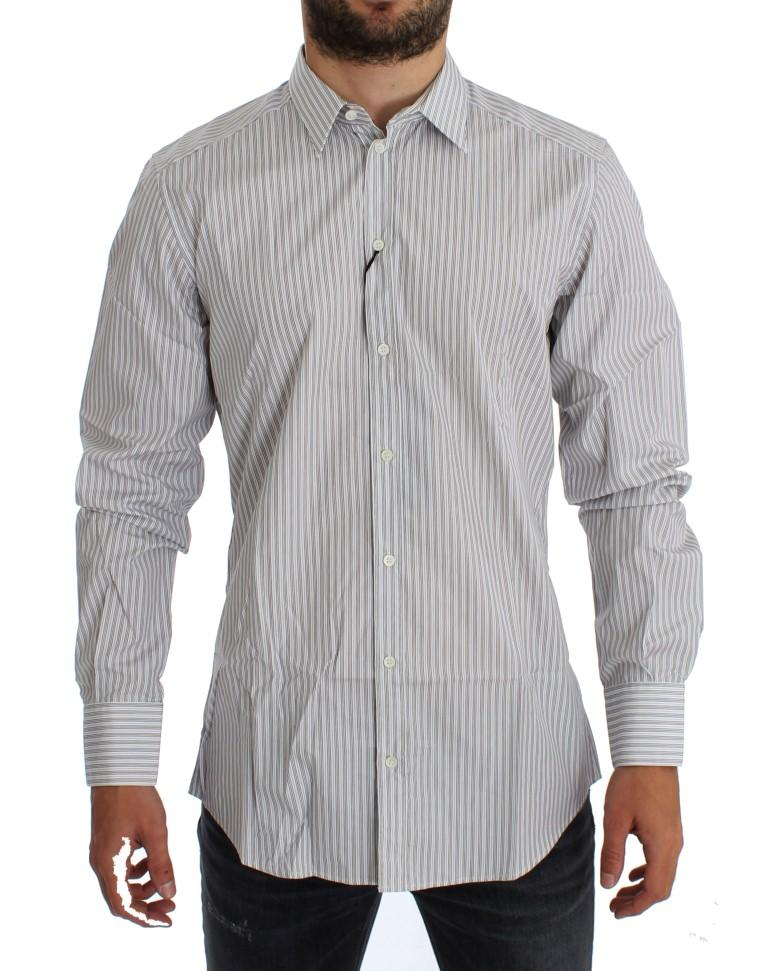 Dolce & Gabbana Men's Striped Slim Fit Shirt White GTT10314 - 43