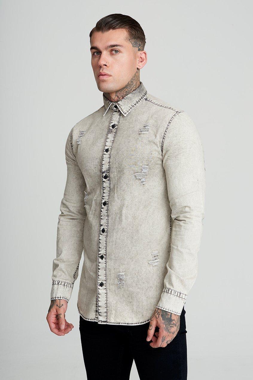 Russel Distressed Denim Men's Shirt - Grey, Small