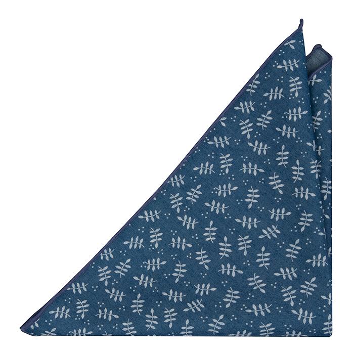 Bomull Lommetørkler, Denimblått med skarpe, hvite bladstammer, Blå, Blomster