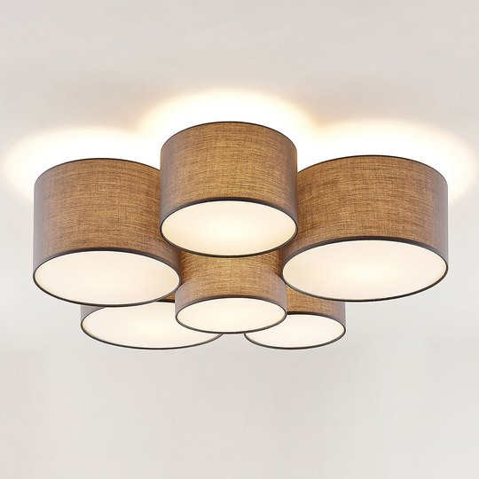 Lindby Laurenz -kattovalaisin, 6-lamp., harmaa