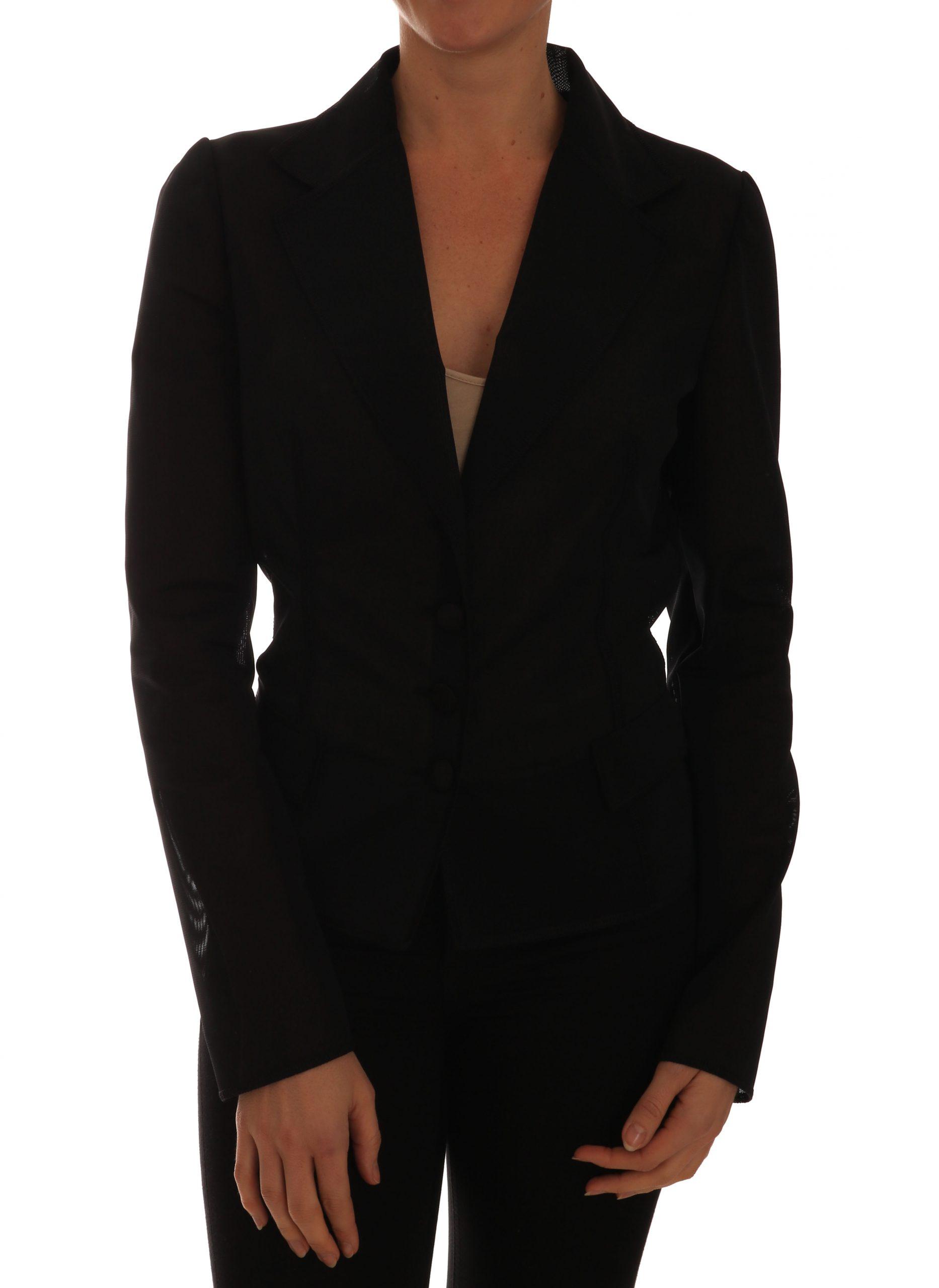 Black Nylon Net Blazer Jacket - IT44|L